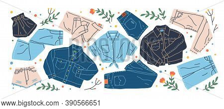 Set Of Different Jeans Clothes Vector Flat Illustration. Collection Of Stylish Denim Shirt, Trousers