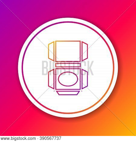 Color Line Carton Cardboard Box Icon Isolated On Color Background. Box, Package, Parcel Sign. Delive