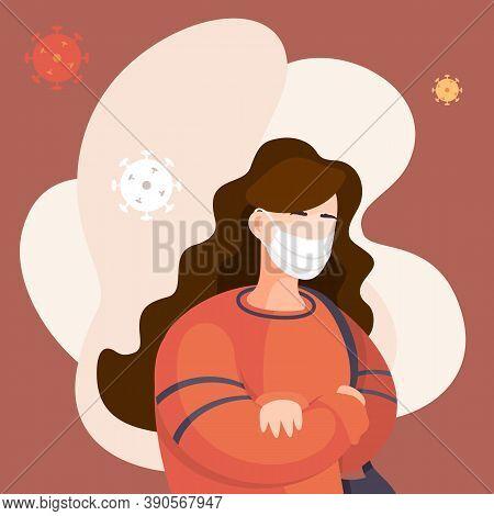 Covid-19, Portrait Of Woman In Respiratory Medical Mask, Flying Virus Pathogen Around. Spreading Vir