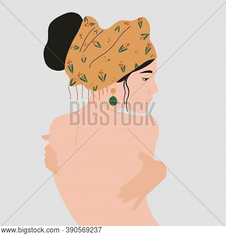 Naked Woman With Beautiful Earring And A Colorful Turban On Her Head. Vector Illustration