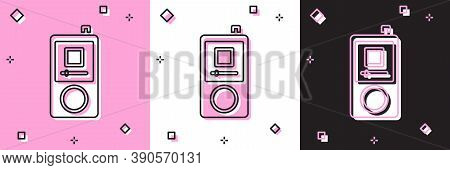 Set Music Player Icon Isolated On Pink And White, Black Background. Portable Music Device. Vector