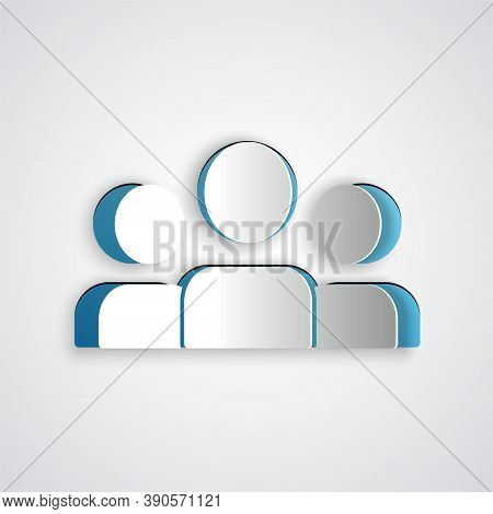 Paper Cut Users Group Icon Isolated On Grey Background. Group Of People Icon. Business Avatar Symbol