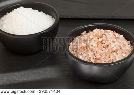 Salt - Crystals Of Salt Pink Of Himalayan; On Dark Background.