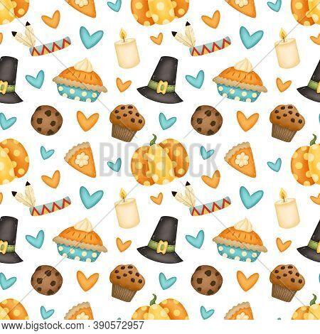 Thanksgiving Day Seamless Pattern. Pilgrim Hat, Pumpkin, Pumpkin Pie, Chocolate Chip Cookie, Cupcake