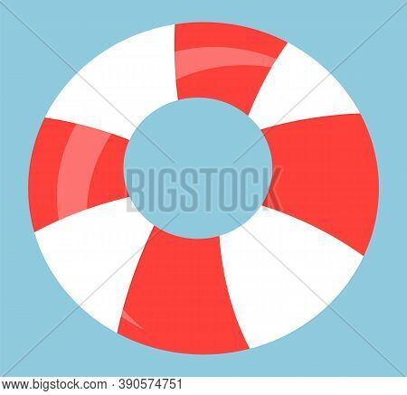 Lifebuoy Icon, Striped Safety Symbol, Red And White Lifebuoy Equipment For Saving Human Life From Wa