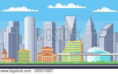 Day Time Cityscape Light Pixel Background With Hight Buildings Silhouette And White Clouds. Pixelate