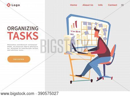 Website Concept. Man Sitting At Table, Using Laptop, Making Paper Work Near Board With Work Tasks, S