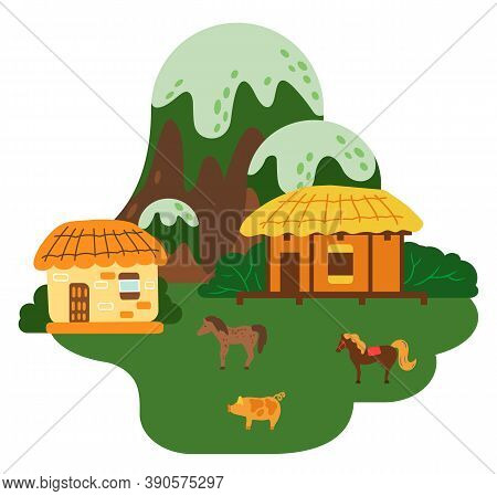 Asian Village Old House At The Mountaine Vector Art And Illustration. Thatched-roof Rural House Dome