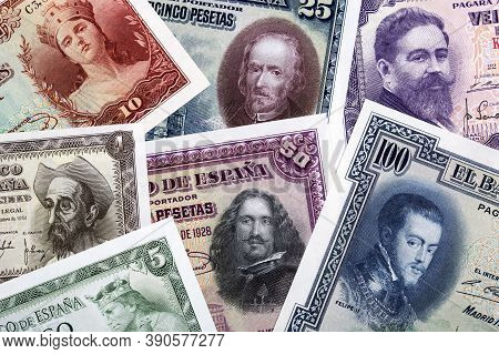Old Spanish Peseta, A Business Background With Money