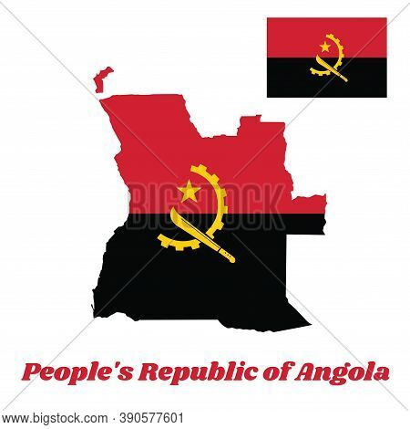 Map Outline And Flag Of Angola, Two Horizontal Bands Of Red And Black With The Machete And Gear Embl