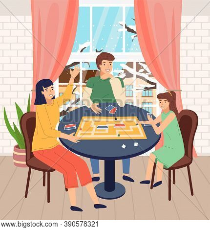 Happy Family Spend Time At Home. People Playing In Table Game With Cards, Labyrinth. Mother, Father
