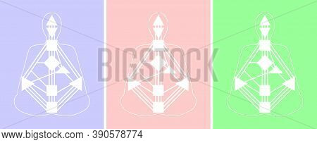 Vector Image On The Theme Of Human Design. White Bodygraphs On Colored Backgrounds.