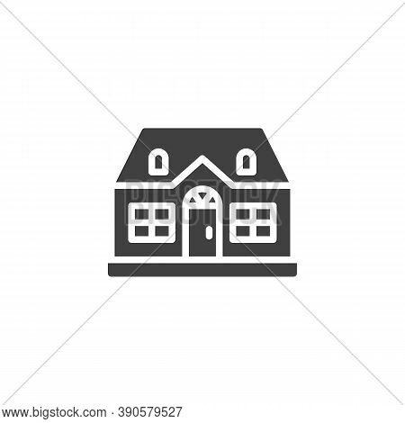 Cottage House Building Vector Icon. Filled Flat Sign For Mobile Concept And Web Design. Suburban Hou