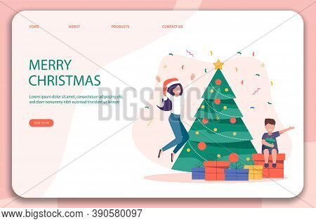 Characters decoration. Young beautiful mother and son decorate Christmas tree. Gifts under christmas tree. Merry Christmas card vector Illustration.Christmas. Christmas Vector. Christmas Background. Merry Christmas Vector. Merry Christmas banner. Christma