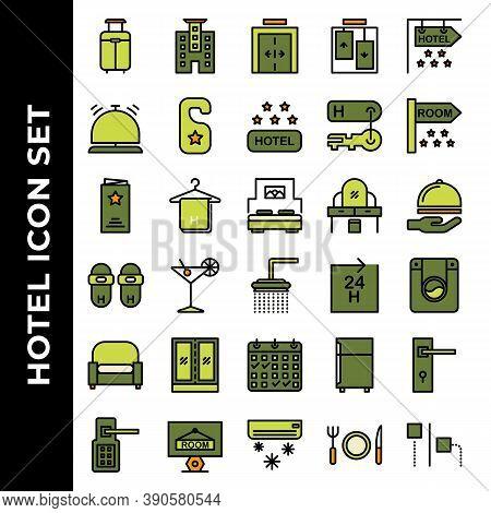 Hotel Icon Set Include Suitcase, Hotel, Elevator, Bell, Door Hanger, Hotel Rating, Key Hotel, Room,