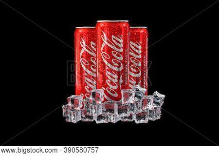 Kuala Lumpur, Malaysia - October 19, 2020 : Coca Cola Or Coke Drink On Black Background
