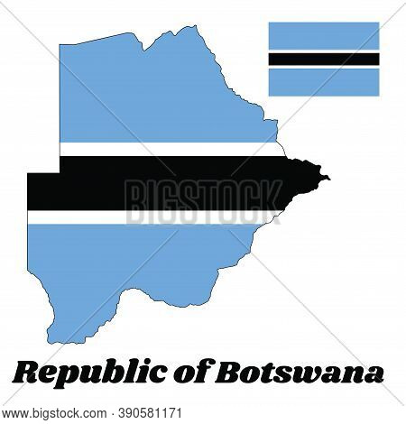 Map Outline And Flag Of Botswana,  A Light Blue Field Cut Horizontally In The Centre By A Black Stri