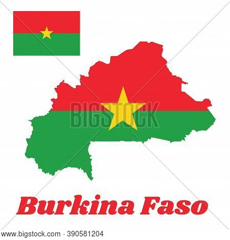 Map Outline And Flag Of Burkina Faso, Two Horizontal Bands Of Red And Green With The Yellow Five-poi