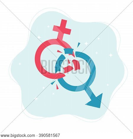 Gender Norms Concept. Gender Symbols Breaking In Pieces. Illustration In Flat Style