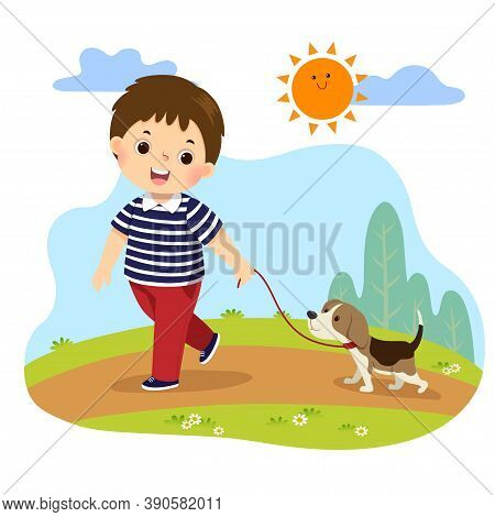 Vector Illustration Cartoon Of A Little Boy Taking His Dog For A Walk Outdoors In Nature. Kids Doing