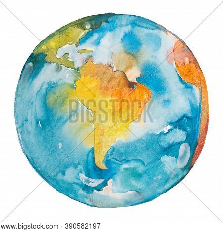 South America On The Globe. Earth Planet. Watercolor