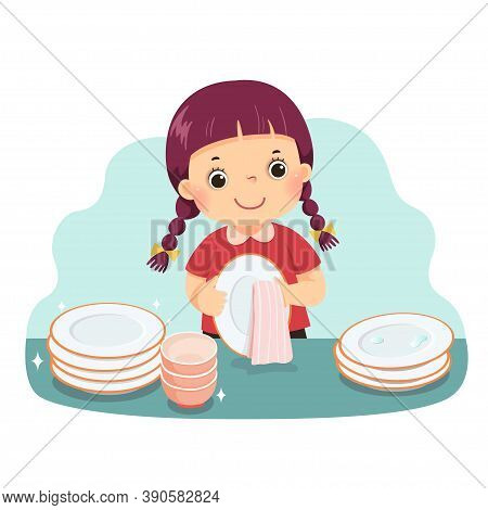 Vector Illustration Cartoon Of A Little Girl Drying The Dishes At Kitchen Counter. Kids Doing Housew