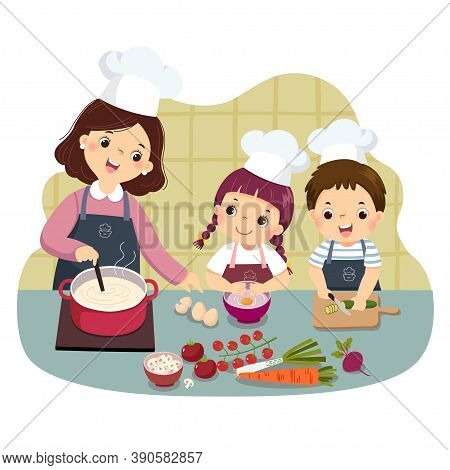 Vector Illustration Cartoon Of Mother And Children Cooking At Kitchen Counter. Kids Doing Housework