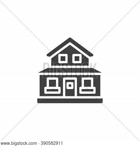 Suburban Residential House Vector Icon. Filled Flat Sign For Mobile Concept And Web Design. Country