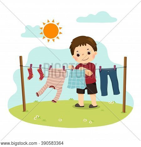 Vector Illustration Cartoon Of A Little Boy Hanging The Laundry On The Backyard. Kids Doing Housewor