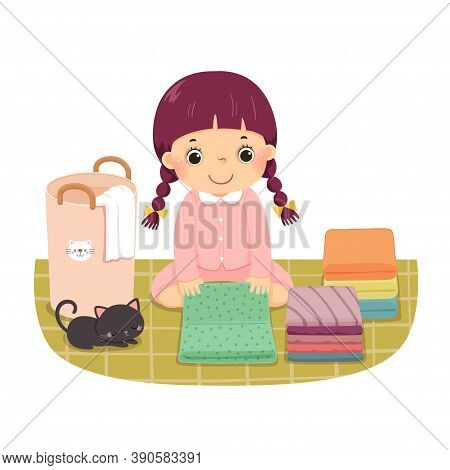 Vector Illustration Cartoon Of A Little Girl Folding Clothes. Kids Doing Housework Chores At Home Co