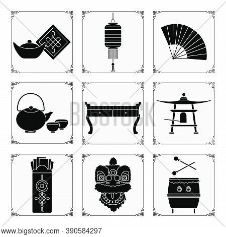Symbols Of The Chinese New Year 2021 Vector Illustration Chinese Lantern, Bell, Fan, Teapot And Cups