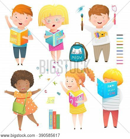 Kids Collection Isolated Clipart, Studying, Laughing, Reading Books And Drawing. Happy Children Wate