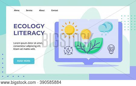 Ecology Literacy Sun Bulb Lamp Lightning Green Leaf Rain Cloud In Book Campaign For Web Website Home