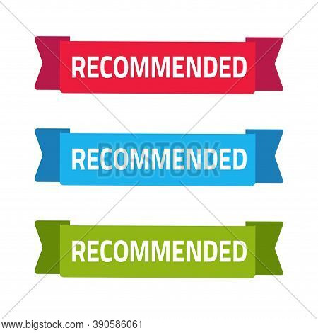 Recommended Ribbon Banner Icon Vector Flat Cartoon, Recommendation Text On Green Red Blue Color Isol