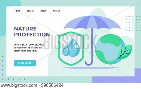 Nature Protection Umbrella Shield Water Drop Green Leaf Earth Campaign For Web Website Home Homepage