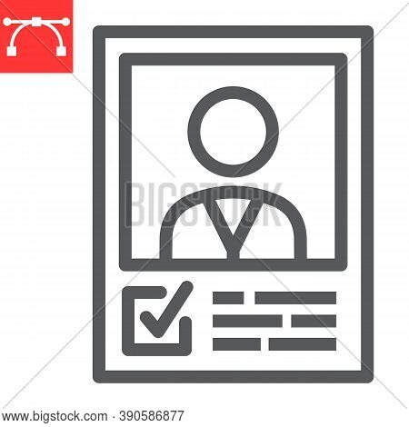 Vote Candidate Poster Line Icon, Election And Vote, Candidate Sign Vector Graphics, Editable Stroke