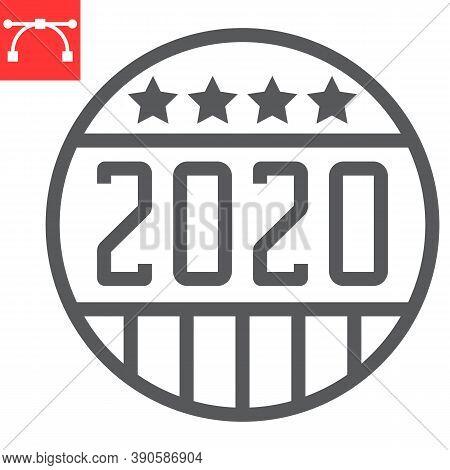 Vote Badge 2020 Line Icon, Election And Democratic, Vote Button Sign Vector Graphics, Editable Strok