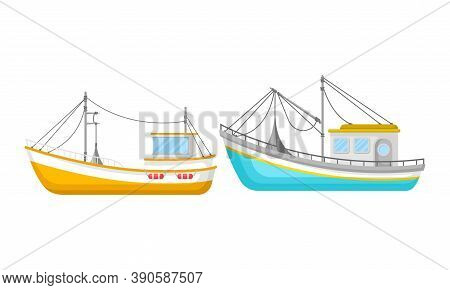 Regular Ship With Cabin And Mast As Water Transport Vector Set