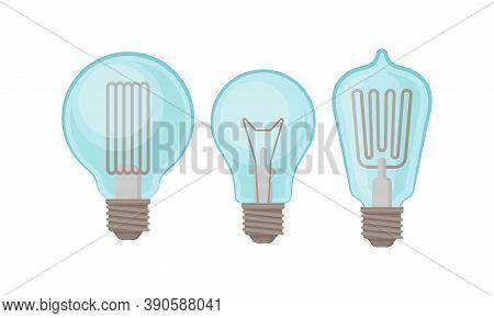 Incandescent Light Bulb Or Incandescent Lamp Vector Set