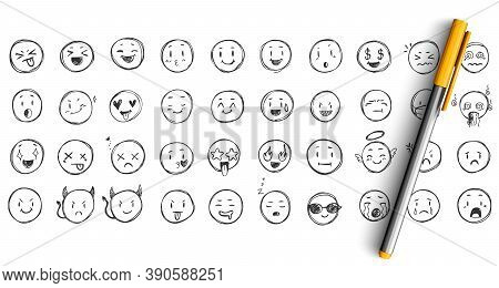 Face Expressions Doodle Set. Collection Of Pencil Ink Hand Drawn Sketches Templates Patterns Of Funn