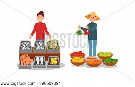 Man And Woman Vendor Standing At Street Booth Or Stall With Fish And Vegetables Vector Illustration