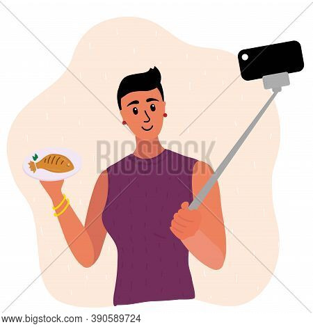 Short Haircut Brunette Food Blogger Making Photo Selfie With With Fried Fish For Blog. Cute Girl Wit