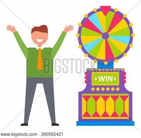 Man Player Winning Roulette Game Machine, Colorful Gambling Wheel. Happy Gambler Rising Hands, Playi