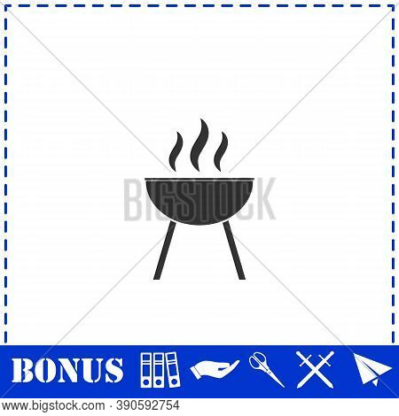 Roaster Bbq Icon Flat. Simple Vector Symbol And Bonus Icon