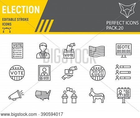 Voting And Election Line Icon Set, Vote Collection, Vector Sketches, Logo Illustrations, Elections I