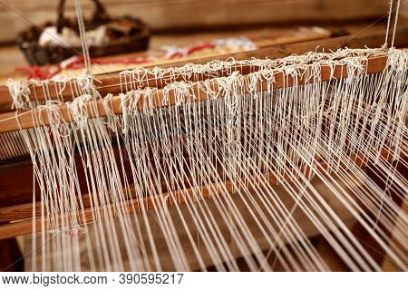 Details Of Vintage Wooden Loom At Home, Russia