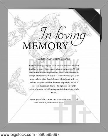Funereal Card Design Template With Black Mourning Ribbon On Corner, Cemetery Graves Crosses And Flyi