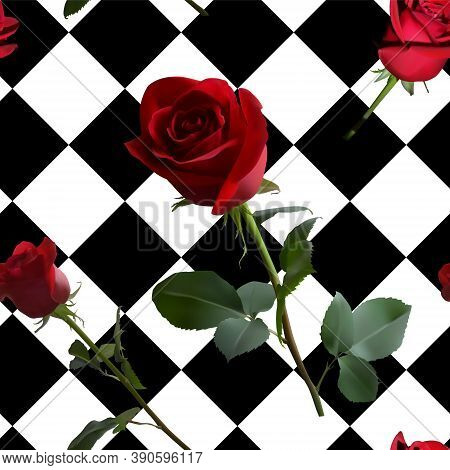 A Pattern With Red Roses With Green Leaves And A Long Stem On The Background Of A Black And White Ce