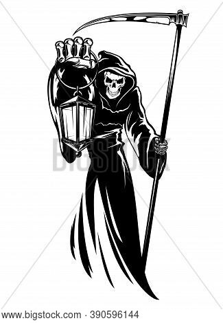 Reaper With Scythe And Lantern. Grim Death Wearing Black Chlamydia With Hood. Skeleton Character In