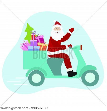 Happy New Year 2021 Merry Christmas Vector Illustration. Santa Claus On Motorbike Carries Gifts, Chr